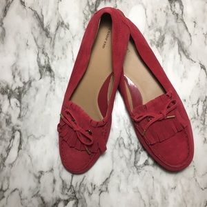 Lands end red moccasin style flats. SIZE: 10
